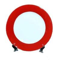 Тарелка белая(красная окантовка)d-20см подс+индивид упак(26) LQSM8-R