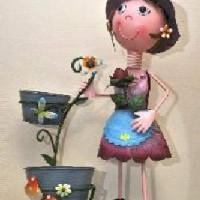 """Кашпо металл """"Девочка"""" на 2 цветка(высота 70см)SX4198"""