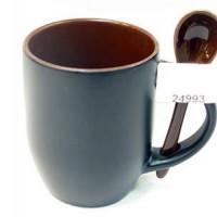 Кружка хамелеон черная/внутри с ложкой кофе (36)XT-MXP05К