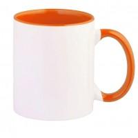 Кружка цветная+цветная ручка(оранжевая)