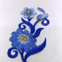 Термонаклейка ЦВЕТЫ голубые 11*4см ТН14