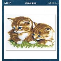 """Набор д/вышивки крестом 30*40см  X1687 """"Котята"""""""