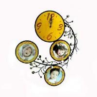 Часы ВИНТАЖ металл-дерево+3фото 9*9см(6)AW6050смАКЦИЯ