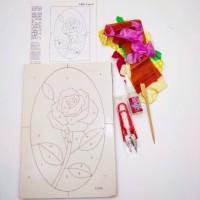 Набор д/творчества H043 18*26 РОЗОЧКА(плакетка+ткань,пинцет+ножницы)