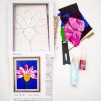 Набор д/творчества H086 13*18 РОМАШКА(плакетка+ткань,пинцет+ножницы)