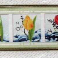 Алмазная мозаика ЦВЕТЫ из3-ох штук 149*50 8507  Частичная выкладка