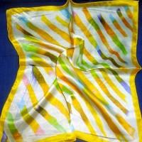 """платок  шейный """"Желтые полоски """"  40*40 см"""