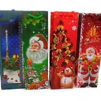 Пакет подар под бутылку NY 33*10*10см С Новым годом(1/12/1200)4диз109
