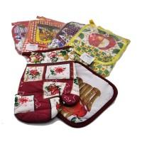 Набор подарочный текстильный из 2-х предметов ( Прихватка+ варежка-прихватка) 16036-2