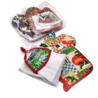 Набор подарочный текстильный из 3-х предметов ( Прихватка+ варежка-прихватка+ кух. пол) 16036-3