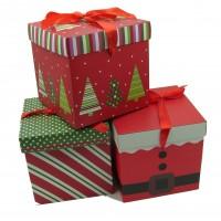 Коробка подарочная   Новогодняя  15х15х15 см / картон  4 вида  5005