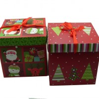 Коробка подарочная   Новогодняя  22х22х22 см / картон  4 вида  5004